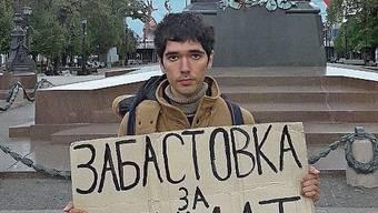 Einsamer Protest: Seit 40 Wochen demonstriert der Musiker Arschak Makitschjan in Moskau.