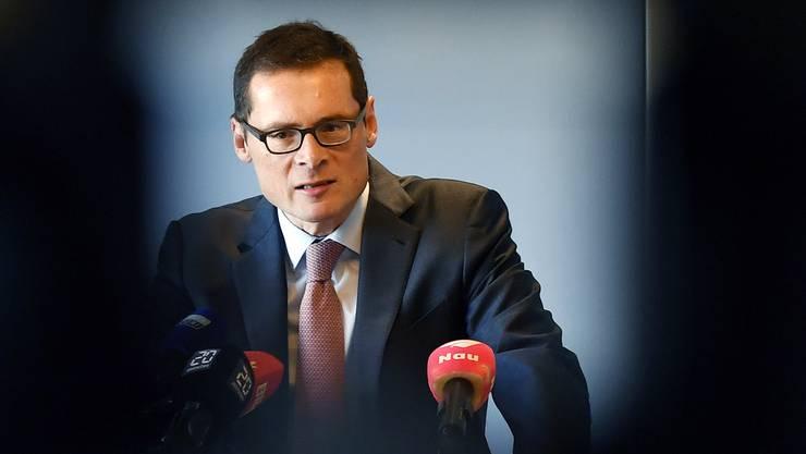 Will im Herbst 2019 in die kleine Kammer SVP-Mann Roger Köppel an seiner Medienkonferenz von Donnerstag.