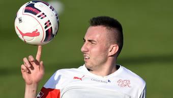 Josip Drmic wird am Freitagabend voraussichtlich mit Xherdan Shaqiri die Flügelzange bilden.