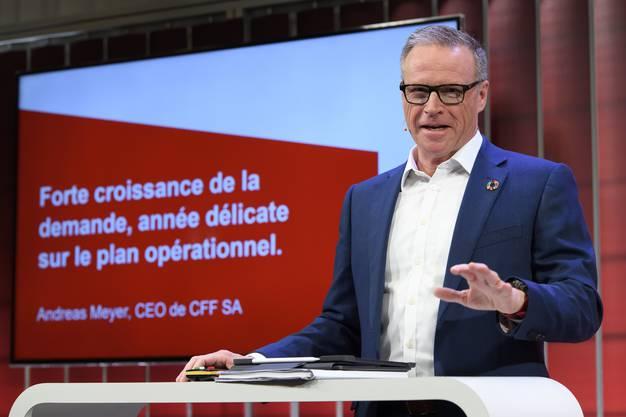 SBB-CEO Andreas Meyer an der Jahresmedienkonferenz.