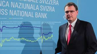 SNB-Präsident Thomas Jordan schreitet zum Rednerpult, wo er wenig später verkündet, dass die Zinsen unverändert bleiben. Lukas Lehmann / Keystone