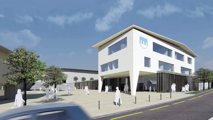 So soll das künftige Meisterschwander Gemeindehaus auf dem Coop-Laden im neuen Dorfzentrum aussehen. Visualisierung Vogel Architekten