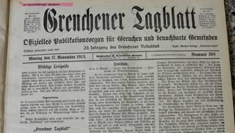 Die allerserste Ausgabe des Grenchner Tagblatts vom 17. November 1913