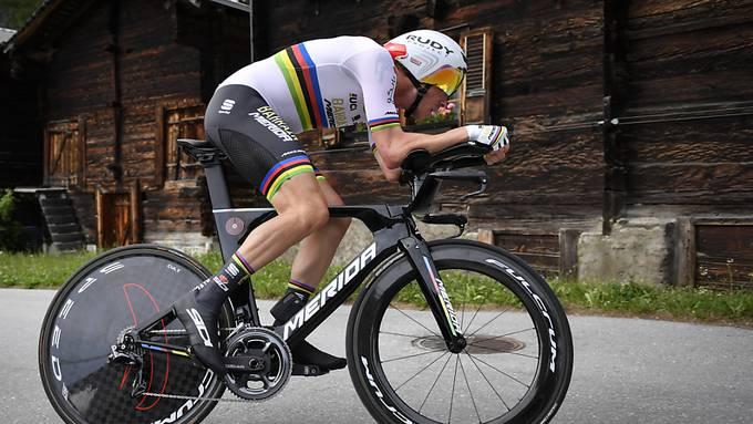 Rohan Dennis beim Zeitfahren in Goms an der diesjährigen Tour de Suisse