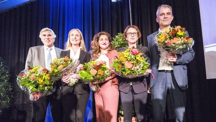 Das sind die gewählten Basler Nationalräte: Christoph Eymann, Katja Christ, Sibel Arslan, Eva Herzog und Beat Jans.