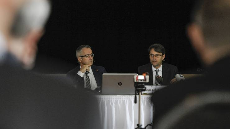 Der Baselbieter Gesundheitsdirektor Thomas Weber (SVP) und sein Basler Amtskollege Lukas Engelberger (CVP) stellen ihr Prestige-Projekt vor.