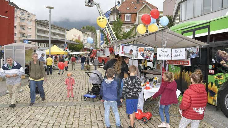 Impressionen vom Mobilitätstag 2018 auf dem Zytplatz Grenchen mit Feuerwehr, Polizei, BGU und zahlreichen anderen Ständen.