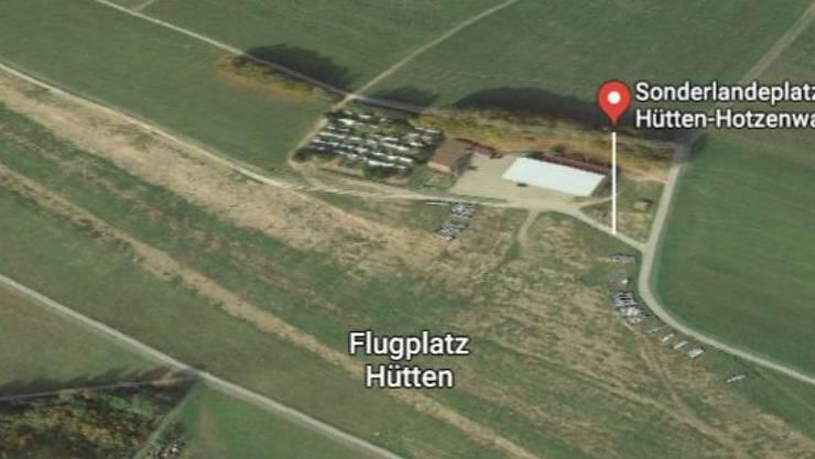 Flugplatz Hütten nahe der Grenze zur Schweiz: Hier war der später verunglückte Segelflieder gestartet.
