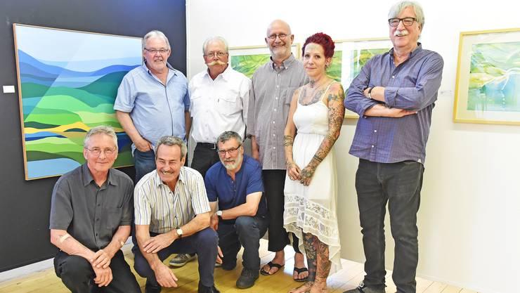 Lenz Friends: von links Bruno Leuenberger, Fritz Brack, Giulio Cemin, Christoph R. Aerni, Martin Heim, Markus Wyss, Sofie Schenker und Edy A. Wyss.