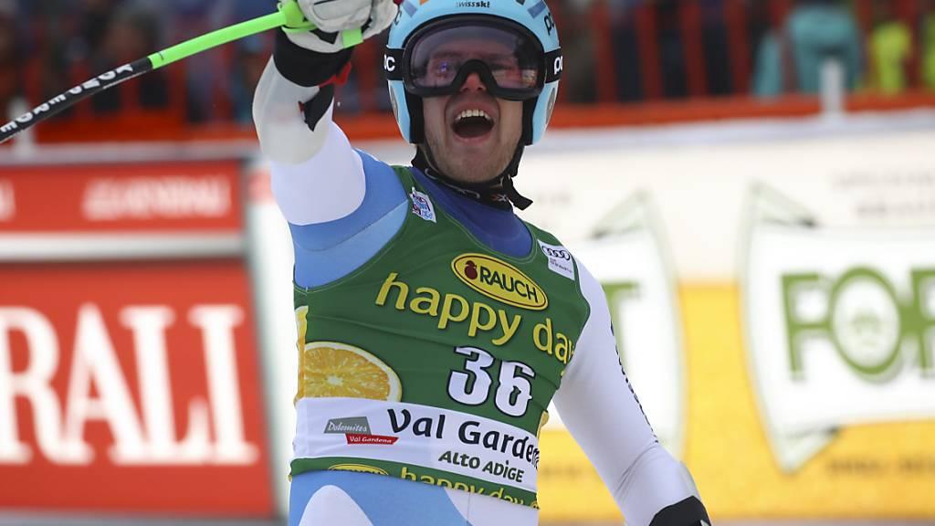 Der Bündner Stefan Rogentin gewann am Freitag die erste der zwei Europacup-Abfahrten in Wengen