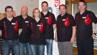 Projektteam im Expo-Shirt (v.l.): Beat Niederhauser, Remo Fries, Monika Schmid, Giancarlo Favi, Claudio Zanatta, Markus Krack.psi