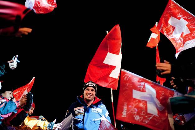 Siegerehrung in Wengen im Jahr 2012