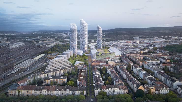 Das Nordende des Dreispitz ist auch in Transformation: Dort sollen weitere Hochhäuser zu stehen kommen.