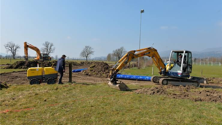 Bei der Tennishalle wird Humus abgetragen. Hier soll die BMX-Strecke auf dem Land der Stadt gebaut werden.