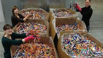 Monatlich erreichen 250 Kilogramm Stifte aus Deutschland, Österreich und der Schweiz das Lagerhaus.ZVG