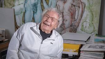 Hans Erni in seinem Atelier in Luzern. Für ihn heisst arbeiten leben.
