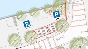 Die Begegnungszone in der Schützenmatte wird vergrössert. Zudem entstehen unterhalb der «Alten Mühle» zwei Ladestationen für Elektroautos und neu Abstellplätze für Motorräder.