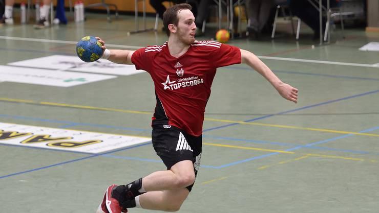Kann der HSC Suhr Aarau gegen Wacker Thun gewinnen? Im Bild: HSC-Topskorer Tim Aufdenblatten.