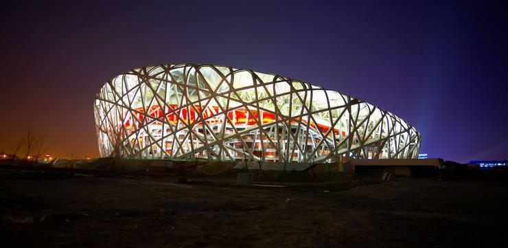 Das Nationalstadion in Peking, genannt Vogelnest, der Basler Architekten Herzog & de Meuron.