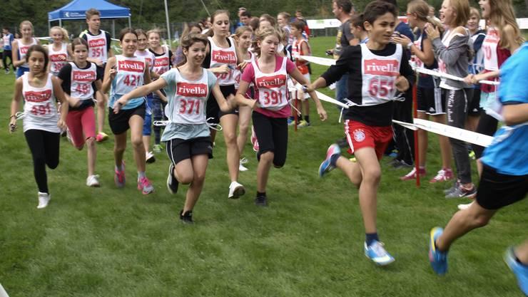 Die Läufer der ersten Oberstufenklassen starten in die Stafette. Wul