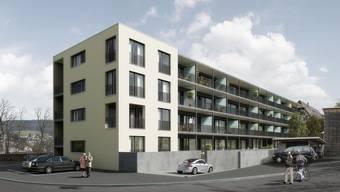 Neubau: Die Wohnungen sind von der Kantonsstrasse abgewandt und sind gegen die Schellenackerstrasse ausgerichtet. (Visualisierung ZVG)