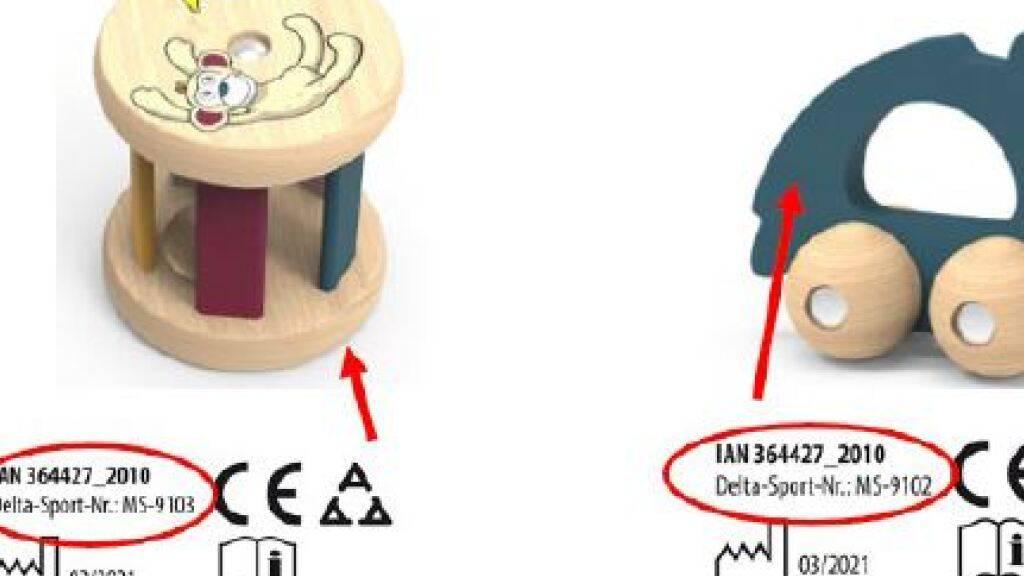Dieses beiden Spielzeuge für Babys werden zurückgerufen. Weil sich kleine Teiel lösen können, droht Erstickungsgefahr.