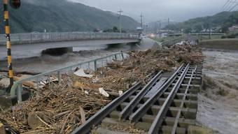 Die Fluten haben diese Eisenbahnbrücke stark in Mitleidenschaft gezogen.