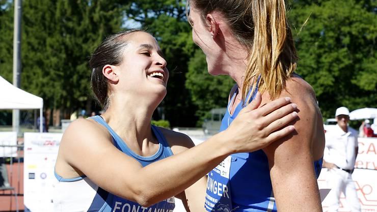 Petra Fontanive (links) war beim Meeting in Genf über 400 m Hürden um sieben Hunderstel schneller als Lea Sprunger