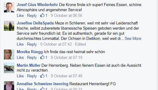 Restaurant-Empfehlungen der Gruppe «Fans vom Limmattal».