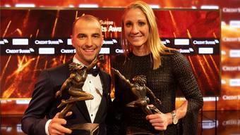 Die Preisträger 2018: Sportler des Jahres Nino Schurter (l.) und Sportlerin des Jahres Daniela Ryf.Keystone