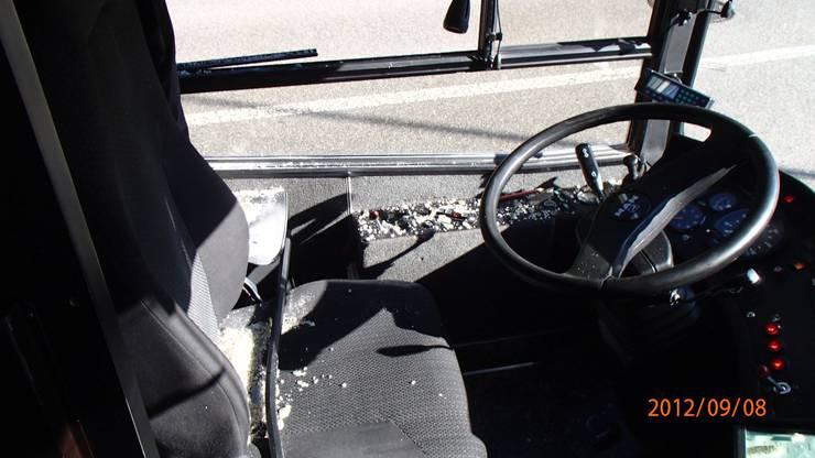 Der Buschauffeur wurde durch die Glassplitter leicht verletzt.