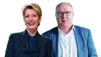 Die neue Bundesrätin Karin Keller-Sutter und Pierre-Yves Maillard, neuer Präsident des Gewerkschaftsbundes, haben eine zentrale Rolle im Europadossier. (Montage)