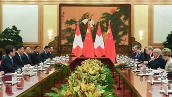 Chinas Staatschef Xi Jinping empfängt den damaligen Bundespräsidenten  Ueli Maurer samt Delegation in Bejing. (April 2019)