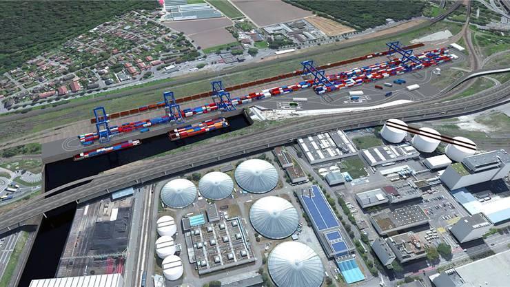 Das geplante Terminal Gateway Basel Nord soll die Transportmittel Schiff, Bahn und Lastwagen verbinden und so die Containerströme bündeln. (Visualisierung)