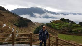 Sandro Wirth in den Longji-Reisterassen nahe der Stadt Guilin im Süden Chinas