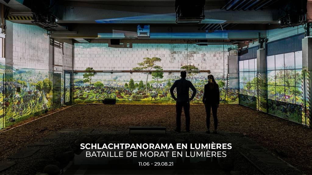 Schlachtpanorama en Lumières in Murten