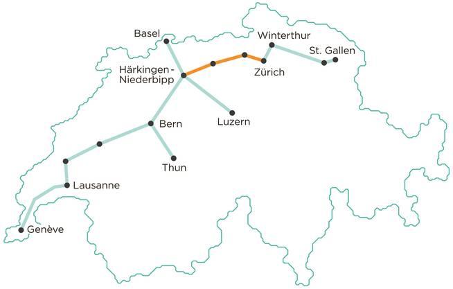 Die Strecke durch die Kantone Zürich, Aargau, Solothurn...