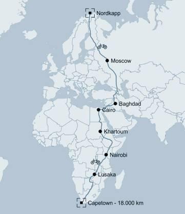 Karte der Reise von Jonas Deichmann