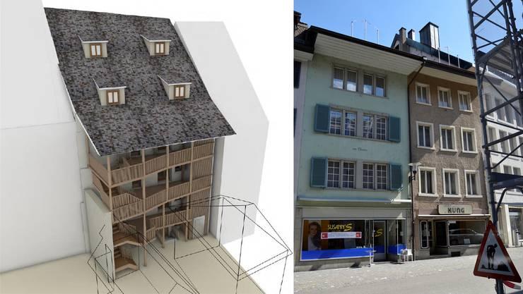 Die beiden Brugger Altstadthäuser «Kleeblatt» und «zum Chrämer» an der Hauptstrasse 20 und 22 sollen ab kommendem Herbst gemeinsam renoviert werden. Links: Mit einem Laubengang werden die Wohnungen erschlossen. (Visualisierung)