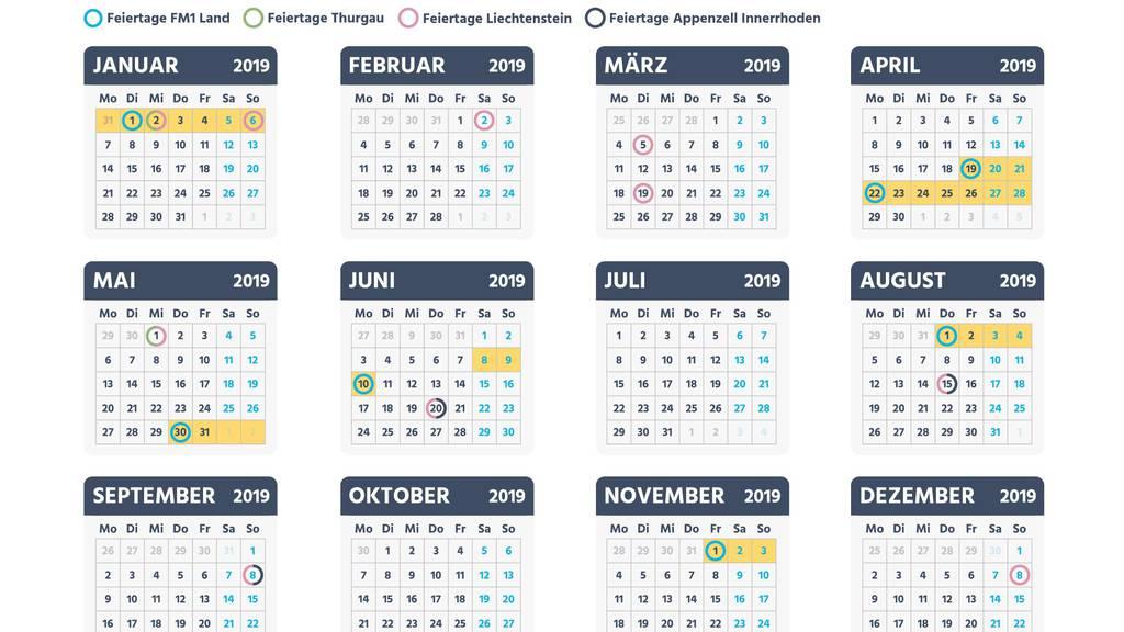 Die Feiertage fallen im 2019 besonders günstig.