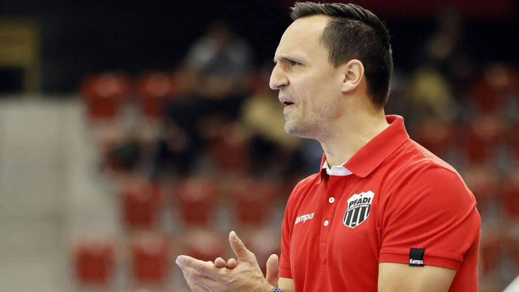 Pfadi Winterthurs Trainer Goran Cvetkovic kann mit dem Saisonstart seines Teams nicht zufrieden sein