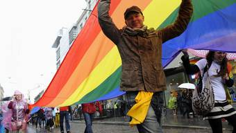 Menschen gehen in Riga für die Schwulenrechte auf die Strasse
