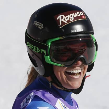 Lara Gut hat nach dem ersten Lauf in Aspen gut lachen