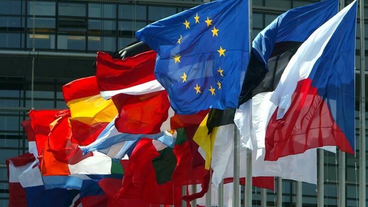 Die Landesfahnen der EU-Mitgliedsstaaten vor dem europäischen Parlament in Strasbourg. Vielleicht flattert hier bald auch die kroatische Flagge. (Reuters)