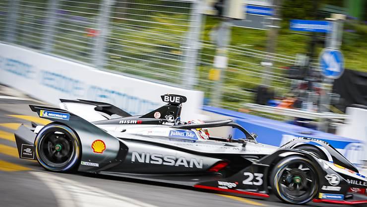 Der Schweizer Sebastien Buemi vom Team Nissan e.dams wahrend dem zweiten freien Training des Swiss E-Prix 2019 in Bern.