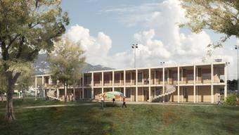 So soll der Neubau mit Kindergarten und Tagesschule im Brühl aussehen.