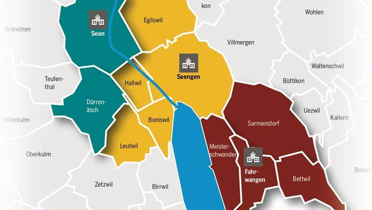 Wird eine der drei Bezirksschulen aufgehoben, trifft dies weitere Gemeinden, die ihre Bezler an den jeweiligen Standort schicken.Grafik: AZ