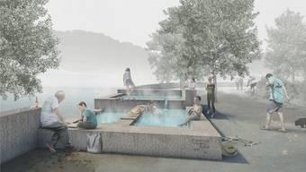 Visualisierung des öffentlich zugänglichen «Heissen Brunnens» im Badener Bäderquartier.