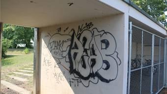 Ärgerlich für die Gemeinde Stein sind die Schmierereien auf dem Schulgelände. dka