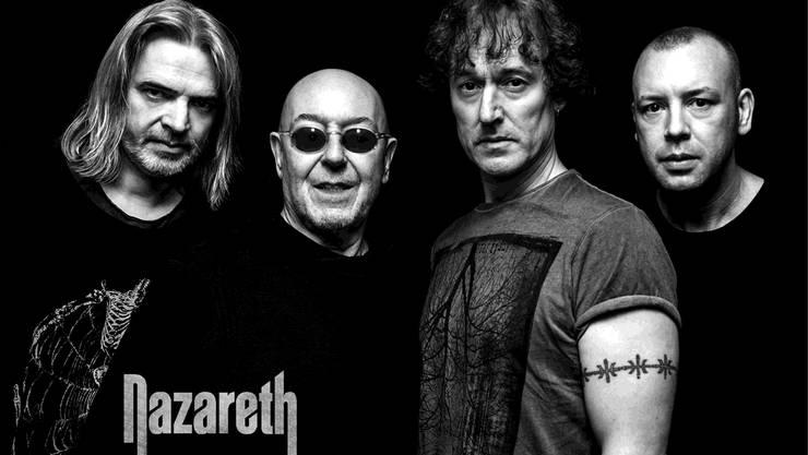 Das offizielle Bandfoto von Nazareth: Harte Jungs in Schwarz-Weiss.